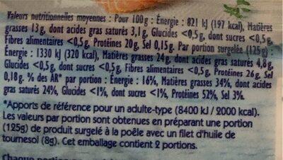 2 Pavés de Saumon Atlantique - Informations nutritionnelles - fr