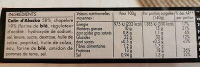 L'atelier poisson - Informations nutritionnelles - fr