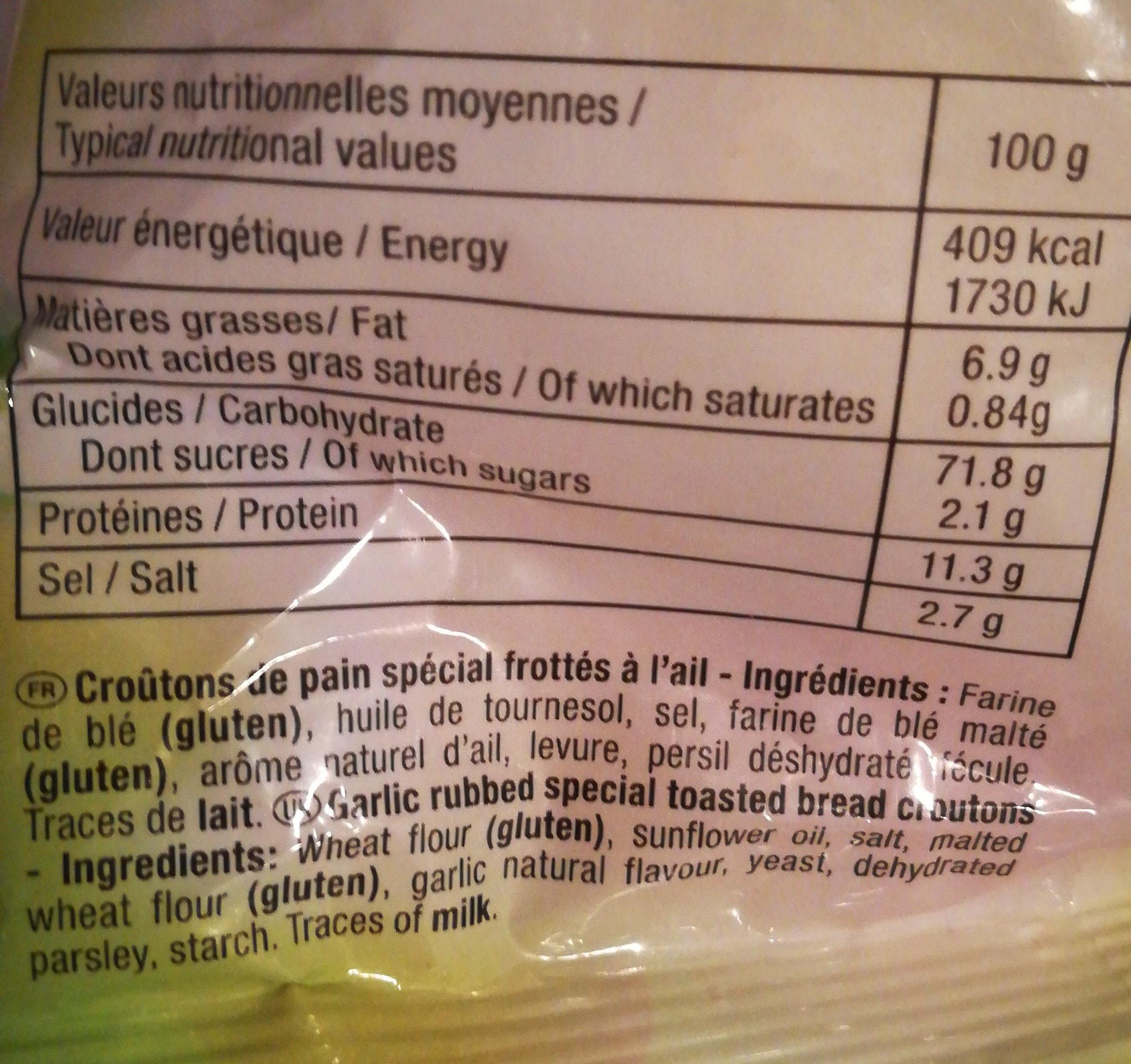 Croûtons de pain frottés à l'ail au persil - Ingrediënten - fr