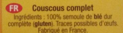Tipiak Wholeweat Couscous - Ingredienti - fr