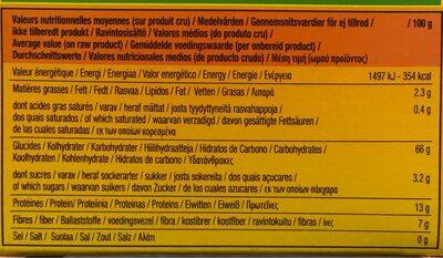 Tipiak Wholeweat Couscous - Valori nutrizionali - fr