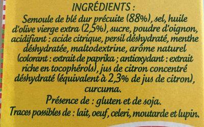 Préparation pour taboulé parfumé à la menthe et au citron - Ingrédients