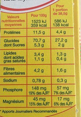 Préparation pour taboulé parfumé à la menthe et au citron - Informations nutritionnelles