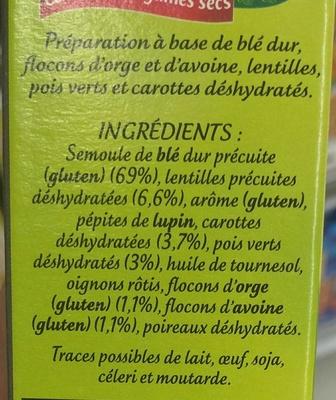 Méli-Mélo Céréales et Légumes secs - Ingrédients - fr
