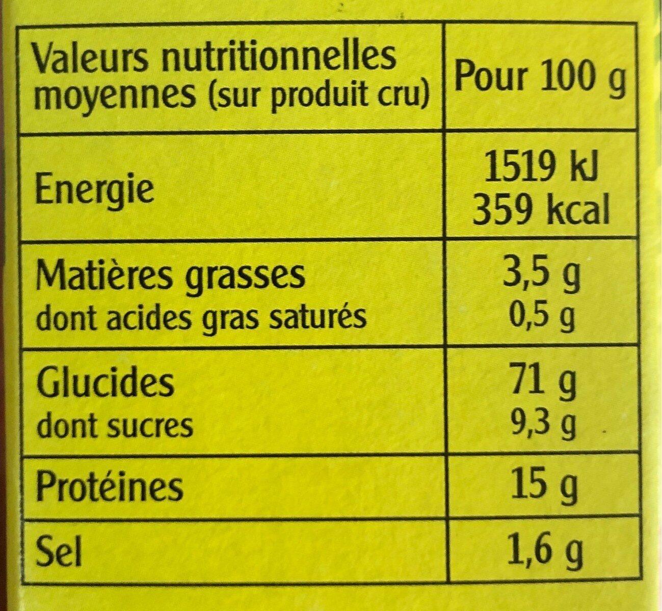 Méli-Mélo Céréales et Légumes secs - Informations nutritionnelles - fr