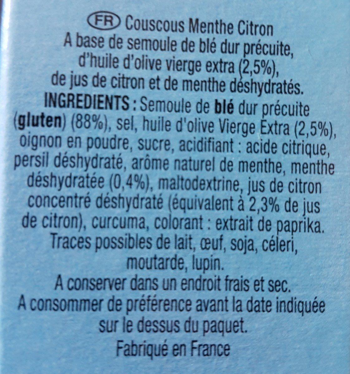 Couscous Menthe Citron - Ingredients - fr