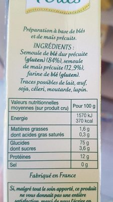 Tendres perles - Informations nutritionnelles - fr