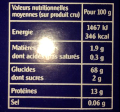Boulgour Tradition - Informations nutritionnelles