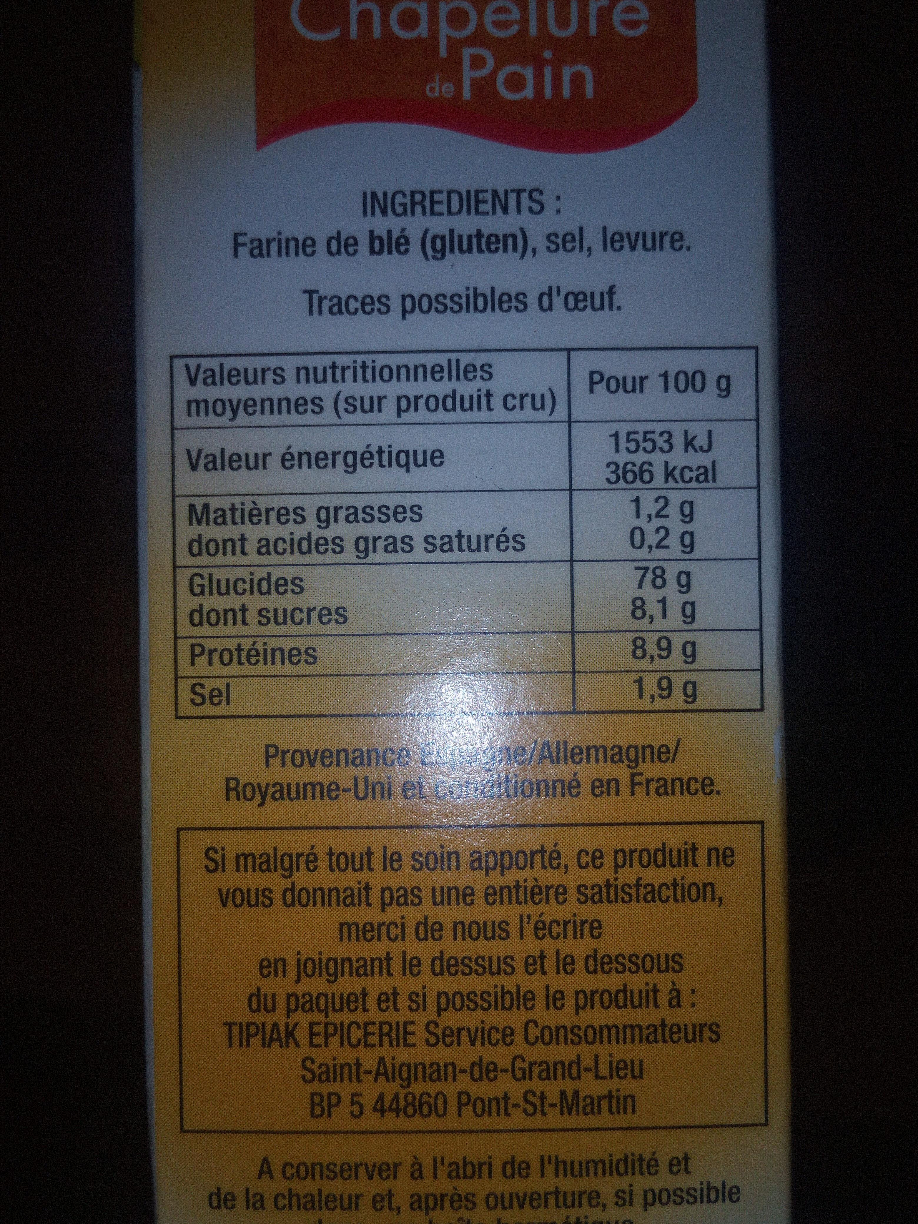 Fine chapelure de pain - Ingrédients - fr