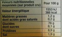 Fine chapelure de pain - Informations nutritionnelles - fr