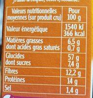 Quinoa gourmand parfumé ép. douces - Informations nutritionnelles - fr