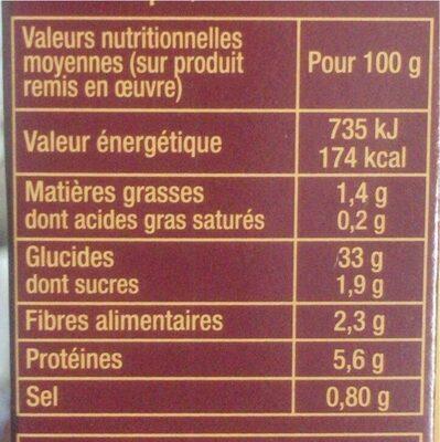 Couscous parfumé - Informations nutritionnelles - fr