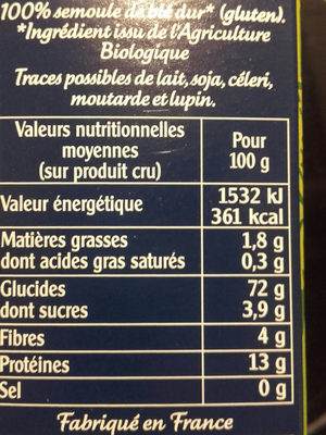 Couscous bio - Nutrition facts - fr