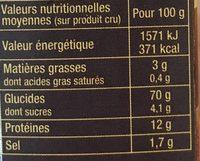 Couscous parfume aux epices du monde - Nutrition facts