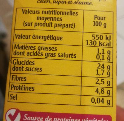 Quinoa délice - Informations nutritionnelles