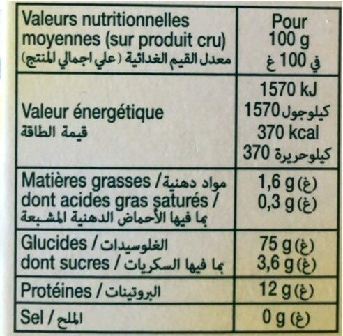 Tendres perles - Nutrition facts - fr