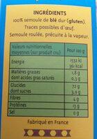 Couscous Fin - Informations nutritionnelles - fr