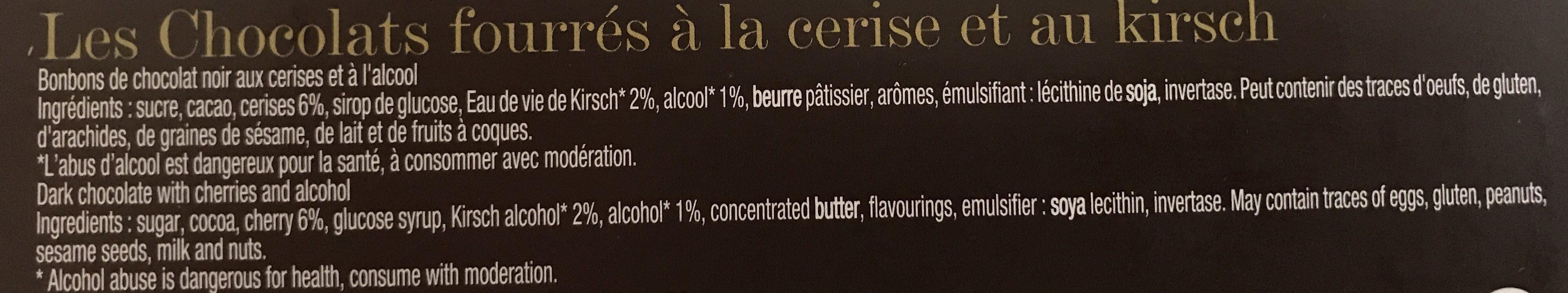Les chocolats à la cerise et au kirsch - Ingredienti - fr
