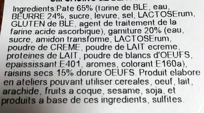 2 Pains aux Raisins - Ingrédients - fr