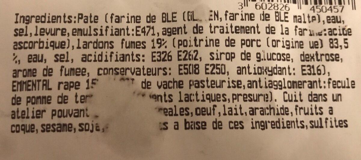Fougasse Lardon et Fromage 350G - Ingredients
