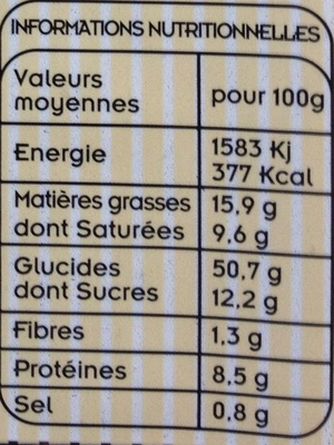 Brioche Vendéenne - Nutrition facts