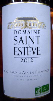 Côteaux d'Aix en Provence AOP 2012 Bio Domaine Saint Estève - Product - fr