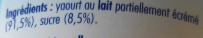 Yaourt Nature Sucré - Ingrédients - fr