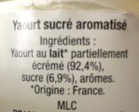 Yaourt sucré - Ingrédients - fr