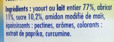 Yaourt lait entier aux fruits (abricot/cerise/mûre/ananas) - Ingrédients - fr
