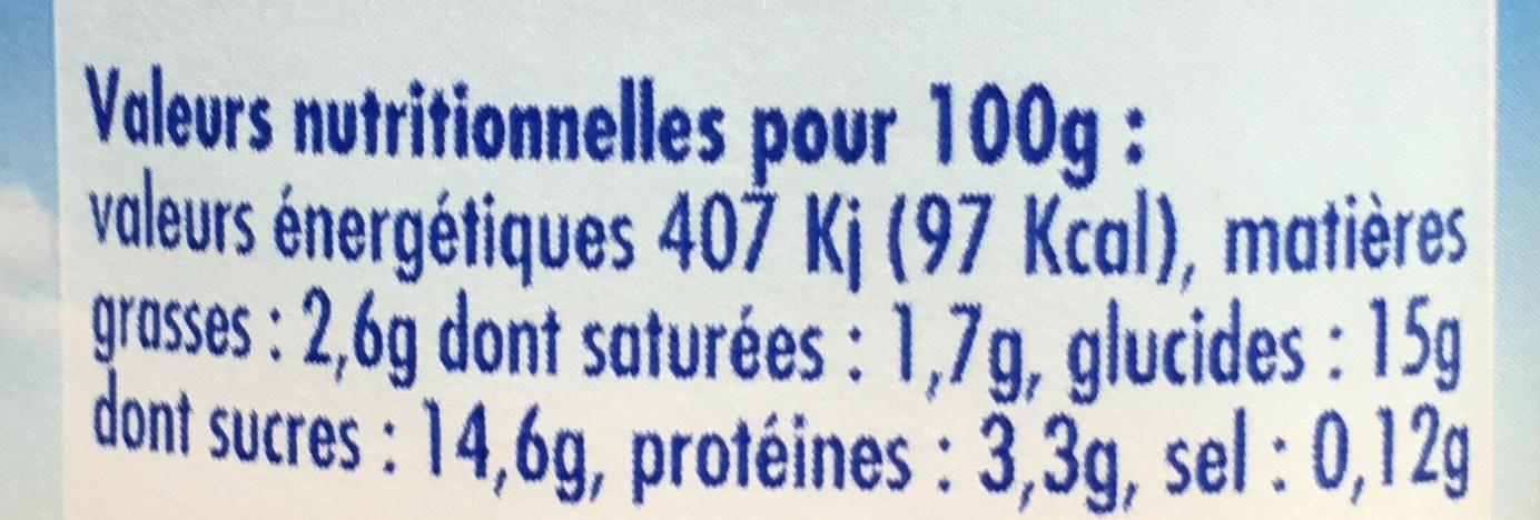 Yaourt lait entier aux fruits (abricot/cerise/mûre/ananas) - Informations nutritionnelles - fr
