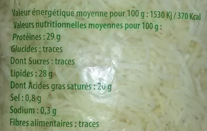 Emmental français - Informations nutritionnelles - fr