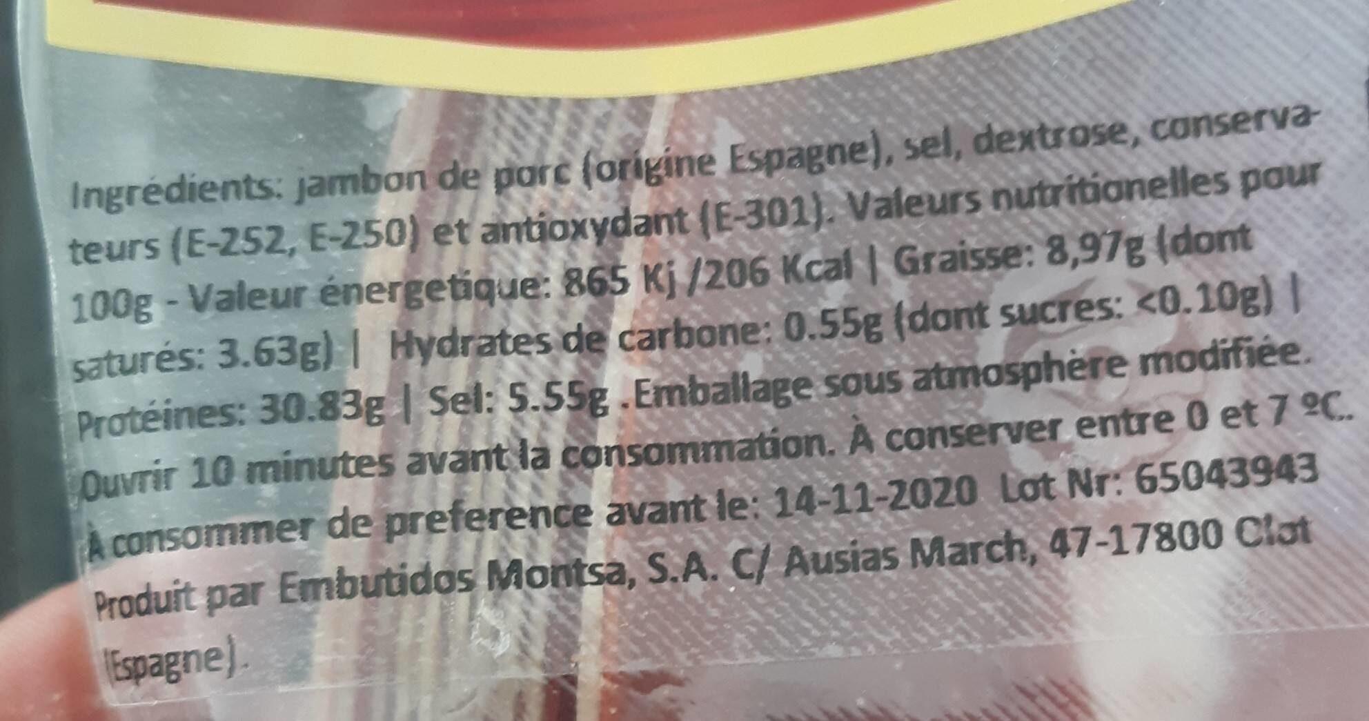 Jambon serrano - Informations nutritionnelles - fr