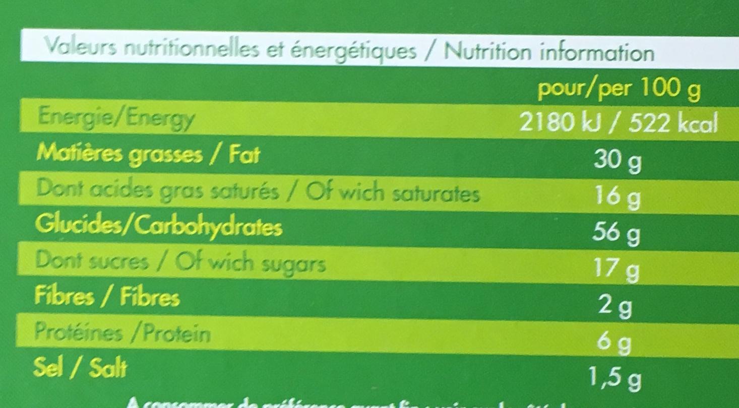 Palmiers feuilletés - Informations nutritionnelles - fr