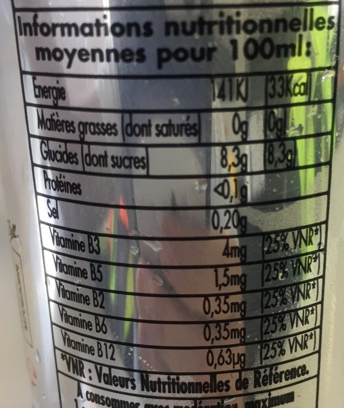 25CL Energy Drink Impact - Nutrition facts - fr