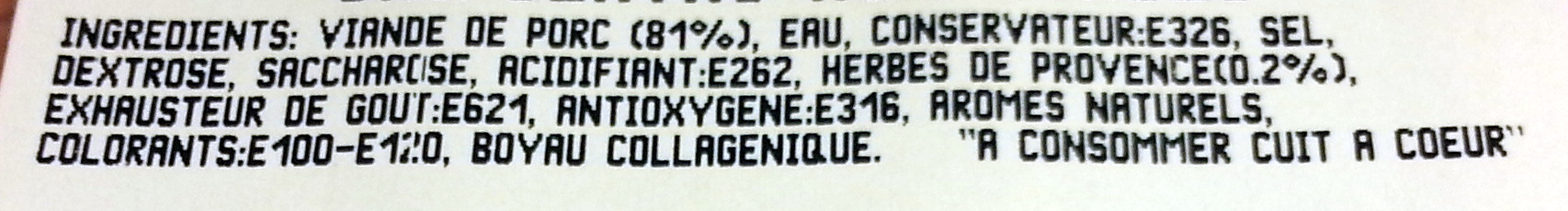 Chipolatas aux Herbes - Ingredients - fr