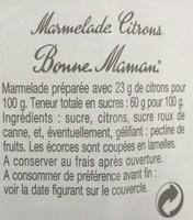 Marmelade Citrons - Ingredienti - fr