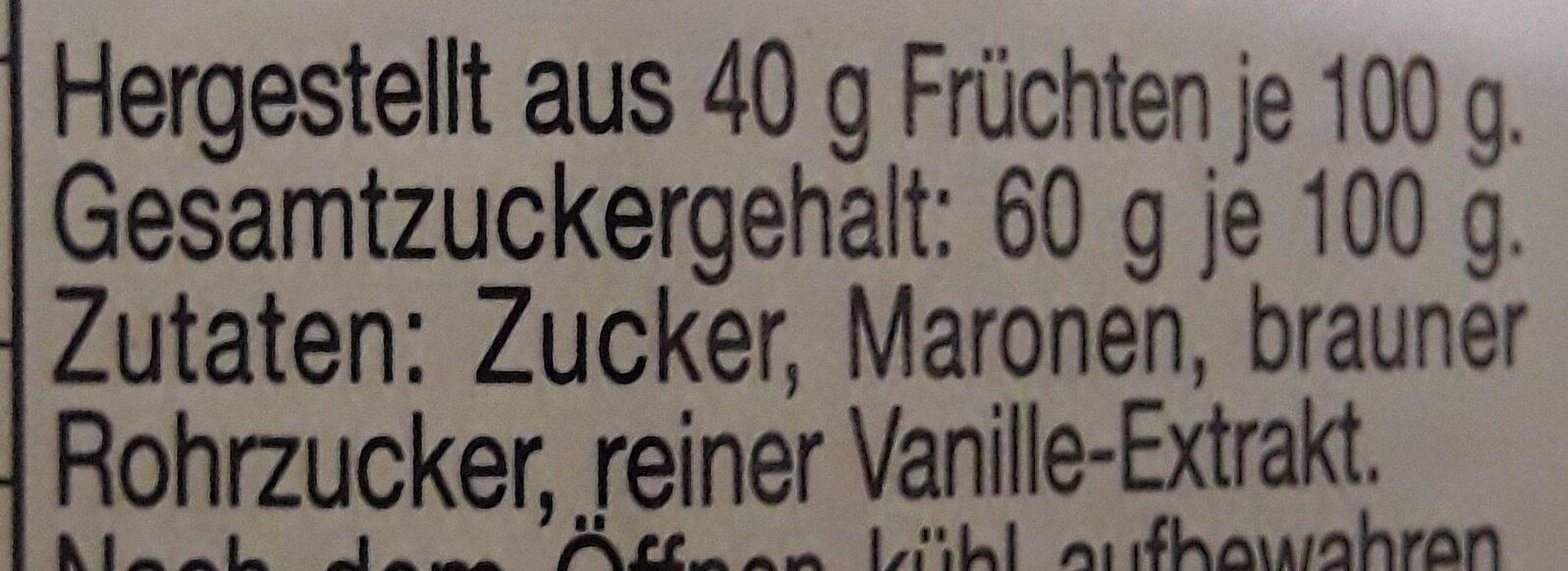 Maronen-Crème - Ingredienti - de