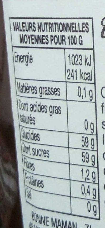 confiture fraises - Valori nutrizionali - fr