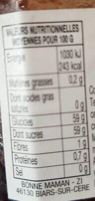 Confiture cerises griottes 370g+20%gr - Valori nutrizionali - fr