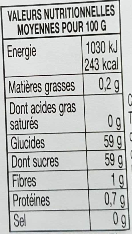Confiture cerises griottes 370g+20%gr - Nutrition facts