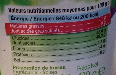 Fruit à tartiner framboise - Voedingswaarden - fr