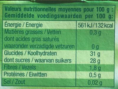 Dessert fruitier Pomme Châtaigne - Informations nutritionnelles