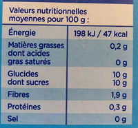 Compote de Pomme Sans Sucres Ajoutés - Informations nutritionnelles