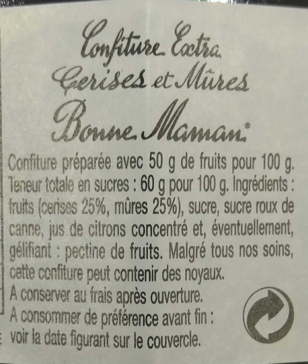 Cerises et Mûres - Ingrédients - fr