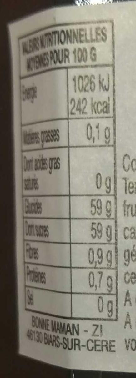 Cerises et Mûres - Informations nutritionnelles - fr