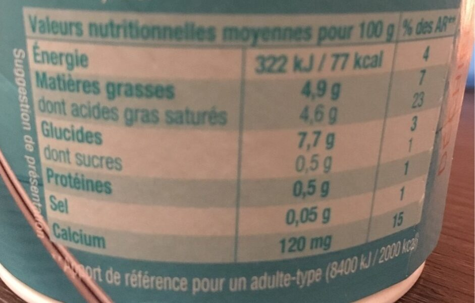 Gourmand & vegetal Brassé Nature - Nutrition facts