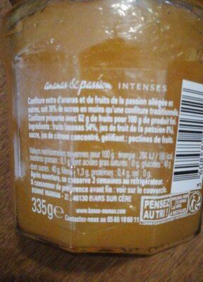 confiture ananas et passion - Informations nutritionnelles - fr