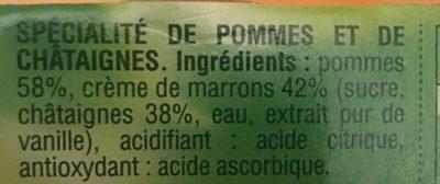 Compote Pomme Châtaigne - Ingrédients