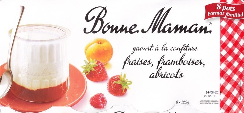 Yaourt à la confiture (fraises, framboises, abricots) 8 pots - Product - fr