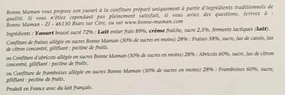 Yaourt à la confiture (fraises, framboises, abricots) 8 pots - Ingredients - fr
